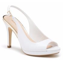 Elegantes Zapatos Zapatillas Andrea Blancas De Charol Novias
