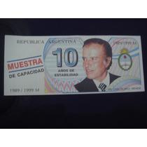 Argentina :billete De Carlos Saul Menen 1989 / 1999