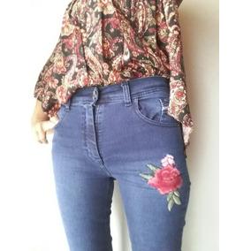 Jeans Elastizado Con Flor Bordada T38 Al 46!!!!