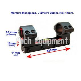 Montura Monopieza Riel 11mm Telescopica 25mm Ø 12cm Largo