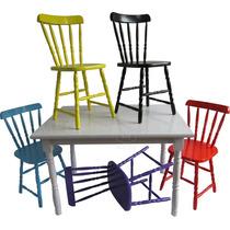 Conjunto De Mesa 140x80 Torneada Com 6 Cadeiras