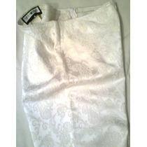 Pantalon Capri De Fiesta - Tela Brocato - Blanco - T. S