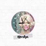 Reloj Marilyn De Pared 20cm Diseño Moderno -homaredesign