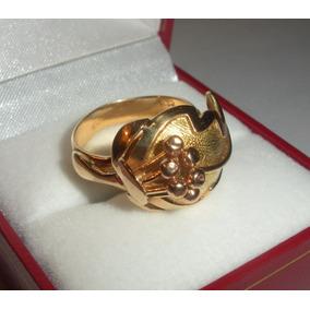 Anillo De Oro 18k Macizo Exc Orfebrería Antiguo