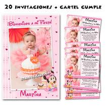 Minnie Bebé 20 Invitaciones Cumple Y Cartel Regalo!!!