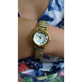 Relogio Bracelete Dourado/prata Feminino Mostrador Branco