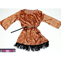 Vestido Impotado/ Remeron Animal Print De Razo Con Flecos