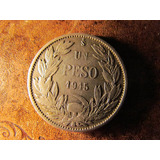 Antigua Moneda Chile Plata 0,72 Un Peso 1915 Buen Estado.