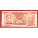 ¡billete De 5 Bolívares Septiembre 1989 Serial A