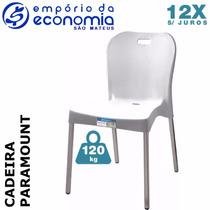 Cadeira Plastico Polipropileno Pé Alumínio Paramount Branco