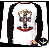 Manga Longa Guns N Roses Appetite Banda Rock Blusa Camisa