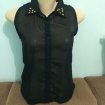 Camisa Feminina Chiffon Com Aplicação De Chatons