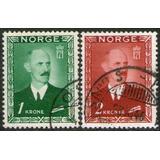 Noruega 2 Sellos Usados Rey Haakon 7° Año 1946