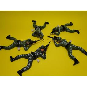 Infantaria De 05 Soldados 15cm Rastejantes Movidos À Corda
