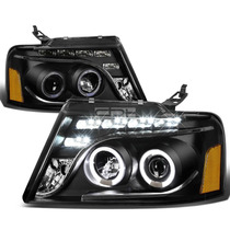 Faros Negros Lupa Ojo De Angel Led Ford F150 Lobo 2004 2005
