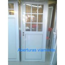 Puerta Aluminio Blanco 1/2 Vidrio Repartido Reforzada