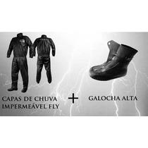 Capa Chuva M + Galocha M Motoqueiro Moto Masculino Conjunto