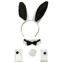 Disfraz Playboy Bunny Ears Negro Blanco Collar De Bowtie Pu