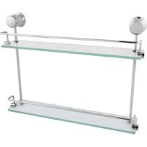Porta Shampoo Duplo 50cm Super Luxo Em Vidro E Alumínio