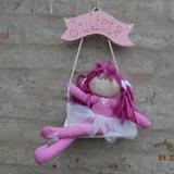 Muñeca En Hamaca Cartel Con Nombre Niños Bebés Decoración