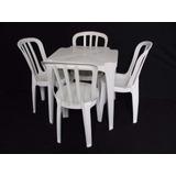 Mesa Com 4 Cadeiras Brancas Plástico Empilháveis