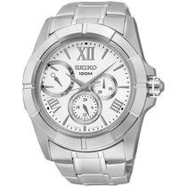 Lançamento Relógio Seiko 5y66ab/1 Prateado Multi-função
