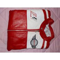 Chamarra 100% Piel - Rojo Y Blanco - Logos Bordados Talla M