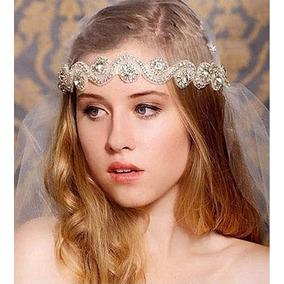 Hermosa Tiara Diadema Nupcial Boda Novia Blanca Con Plata