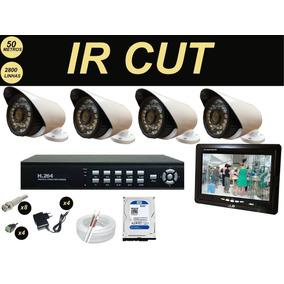 Sistema Vigilância Completo Dvr + Monitor 7 + Hd + 4 Camera