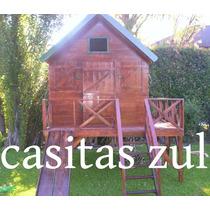 Casita Infantil De Madera Maderera Zul !!