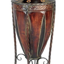 Jarrón Rustic Courtyard Style Antique Brown Metal With Sta