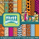 Kit Imprimible Pack Fondos Los Picapiedras Clipart