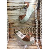 Sandalia Plataforma Bajita Miel Mujer Fabricantes Calzado