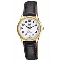 Regalo Reloj Q&q Mujer Cuero Negro Dorado 28mm + Globo +caja