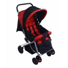 Carrinho De Bebê Berço E Passeio Vermelho C/preto Baby Style
