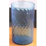 Bello Florero De Cristal Ondulado Azul,alto 27 Cm. Ver...ver