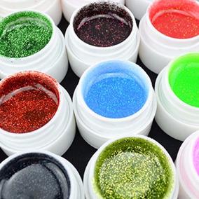 Kit Com 24 Gel Com Glitter Colorido Para Decoração De Unhas