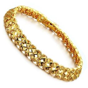 Pulseira Feminina Banhada Ouro 18k- 17,50 Cm Dourada