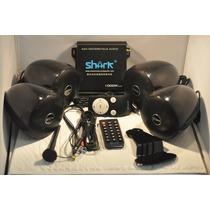Som Para Moto Shark 4 Canais 1000 Watts Prova Dagua Preto