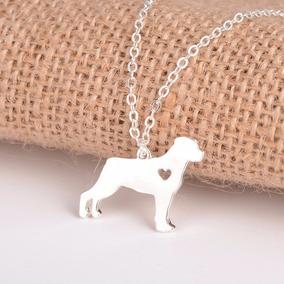 Joyería Collar Forma De Perro Rottweiler Plateado- Cm049
