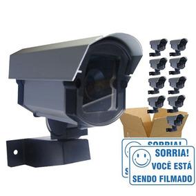 Kit 10 Câmeras De Segurança Falsa Com Led Bivolt Cftv +placa