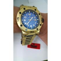 Relógio Ferrari Dourado Cronógrafo T12ja52 2 Anos + Brinde