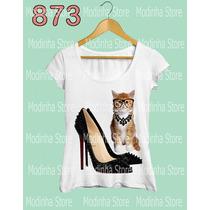 Camiseta Tshirt Feminina Moda Estampa Gato Salto Alto Fofo