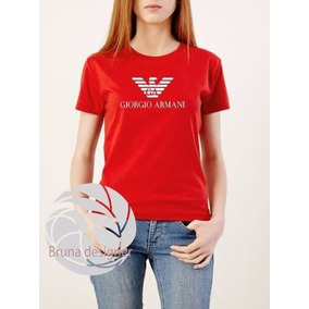e51b3f028a7f4 Blusa Camiseta Camisa Feminina Baby Look Armani Jeans Marca. Rio Grande do  Sul · Baby Look Giorgio Armani - Personalizada