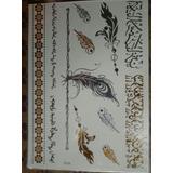 Tattoo Tatuaje Dorado Plumas De Avestruz Canción Árabe