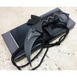 Cuchillo Táctico Kerambit 7.5 Con Funda Plástica Filo Negro