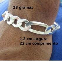 Pulseira Prata 925 Italiana 3x1 Masculina 28 G 1.2 Cm Grossa