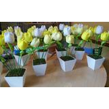 Centro De Mesa De Comunion O Bautismo De Tulipanes En Tela