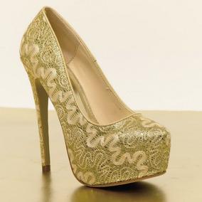 Zapatos Dorados Con Plataforma (blanco Y Dorado Para Novias)