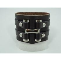 Pulseira Masculina / Bracelete Com H Metal Cromado Couro